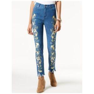 One Hart Skinny Jeans Floral Raw Hem Stretch Blue